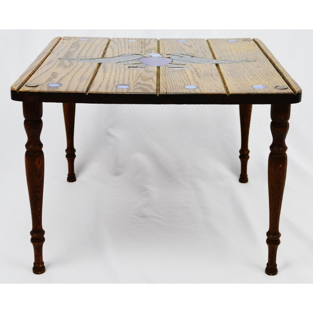 Mosaic Eagle Inlay Wood Accent Table - Image 3 of 9