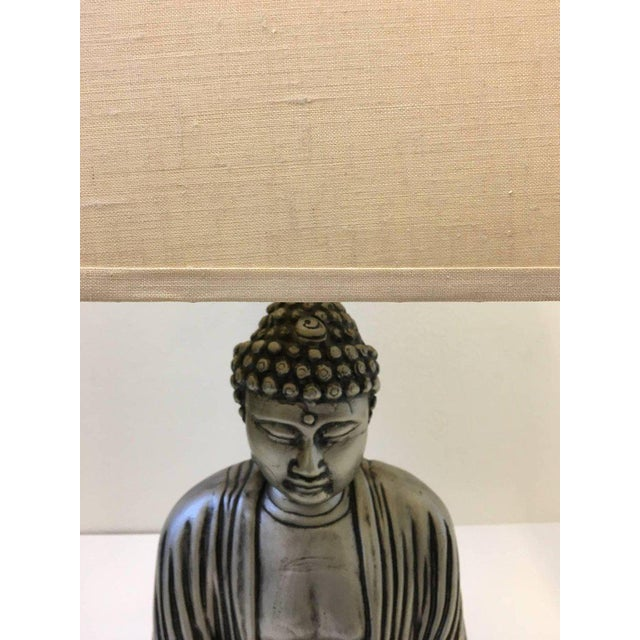 Silver and Black Lacquered Buddha Table Lamp For Sale - Image 9 of 10