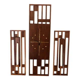 Mid-Century Modern Wooden Clock and Candle Sconces- Set of Three For Sale