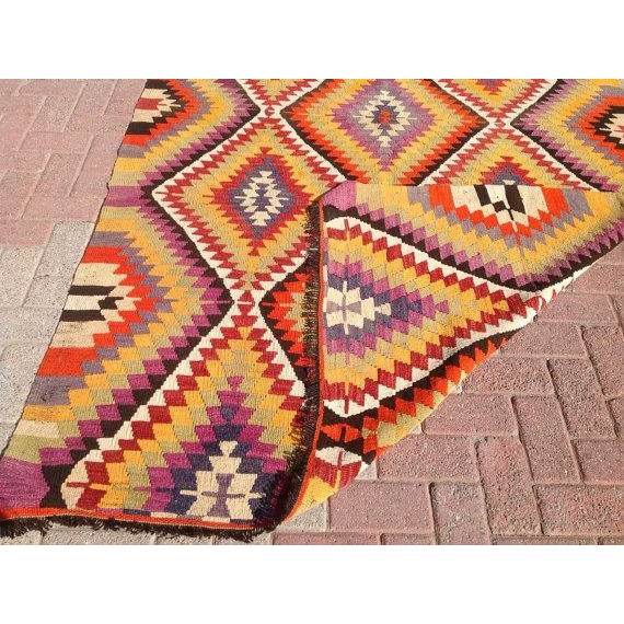 Vintage Turkish Kilim Rug - 5′5″ × 11′ For Sale In Raleigh - Image 6 of 6