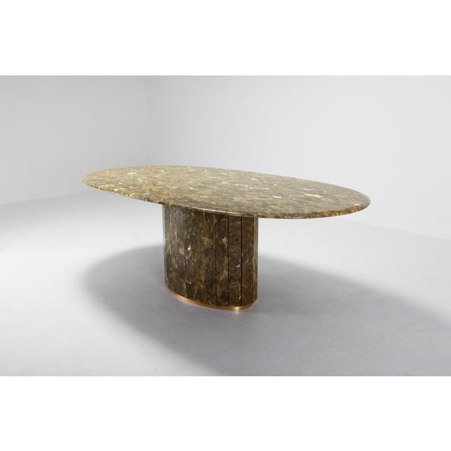 Hollywood Regency Jean Charles Onyx and Gold Leaf Marble and Brass Dining Table For Sale - Image 3 of 10