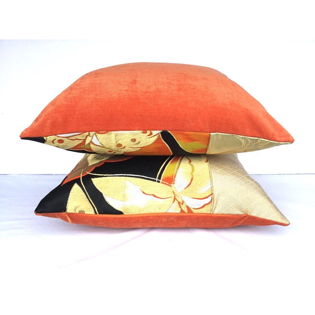 Vintgae Butterflies In Flight Japanese Obi Pillows - A Pair - Image 6 of 7