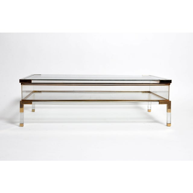 Hollywood Regency Vintage 1970s Sliding Glass Top Coffee Table Attributed to Maison Jansen For Sale - Image 3 of 13