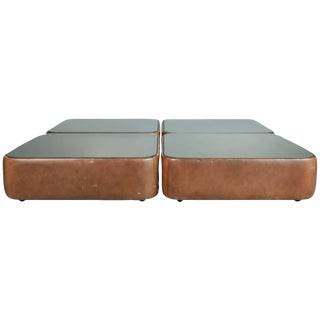 1970s Walter Knoll Leather Mirrored Low Tables, Germany - Set of 4 For Sale