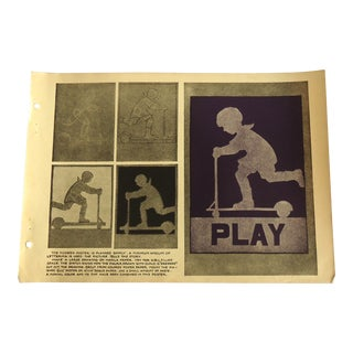 """1930 Art Deco """"Play"""" Poster Design Print Character Culture Citizenship Guides For Sale"""