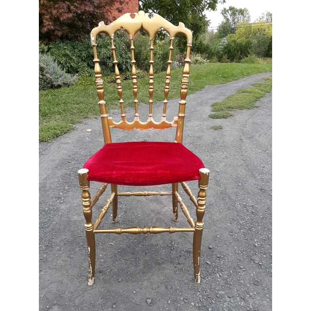 1940s Vintage Italian Chiavari Chair in Gold Over Wood For Sale - Image 5 of 12