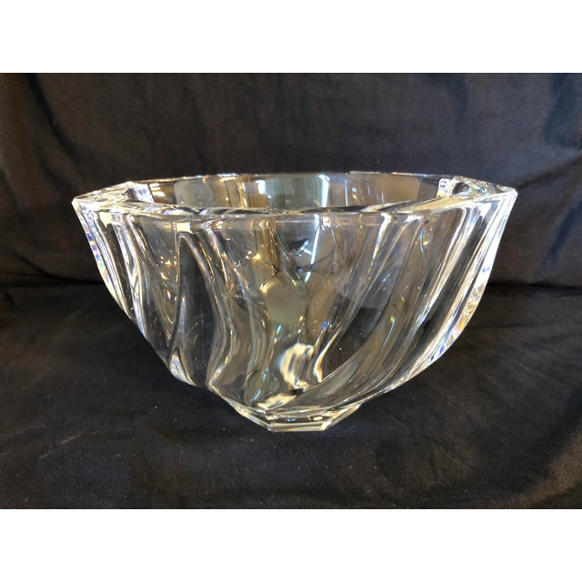 Full Lead Crystal Glass Bowl designed in 1985 By Olle Alberius Retains original label and original box. Not in production...