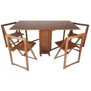Mid-Century Modern Drop Leaf Compact Dining Table With Chairs Set For Sale