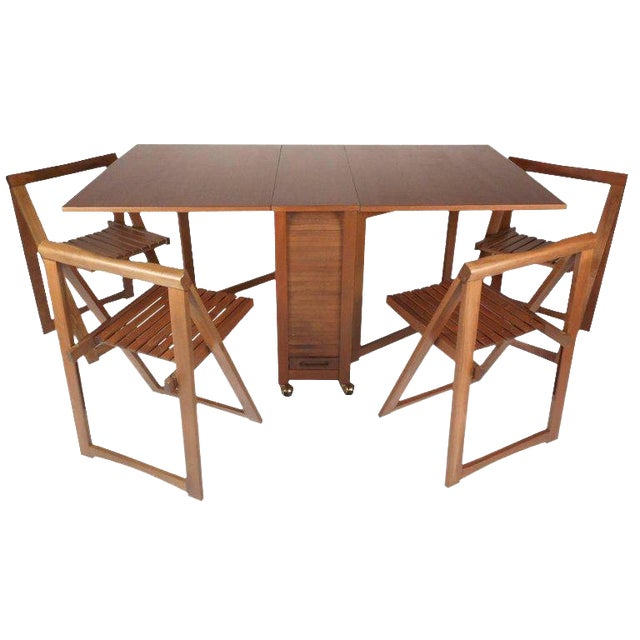ddf76981a2bb Mid-Century Modern Drop Leaf Compact Dining Table With Chairs Set For Sale