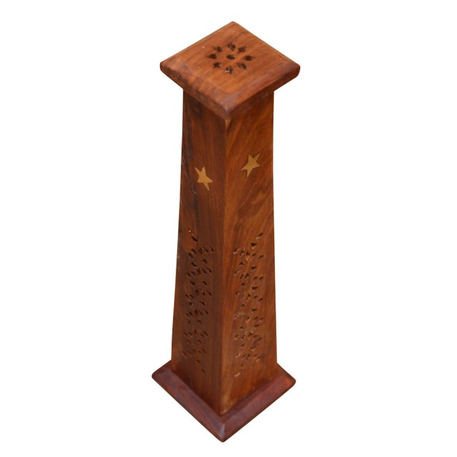 Shabby Chic Wooden Incense Burner Towers With Brass Star Inlay, a Pair For Sale - Image 3 of 6