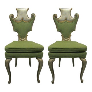 Pair of Decorative Silver Leaf Chairs Attributed to Grosfeld House For Sale