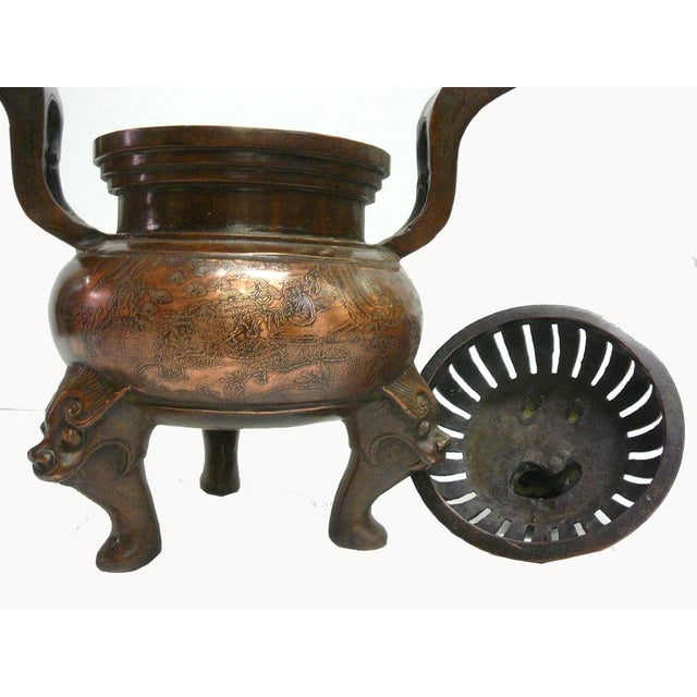 Chinese Bronze Foo Dogs Graphic Incense Burner - Image 4 of 7