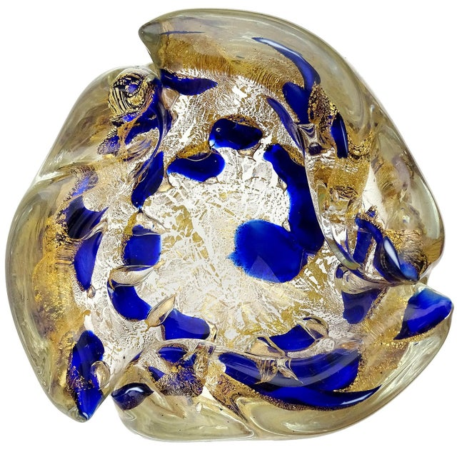 Blue Barovier Toso Murano Vintage Blue Gold Flecks Italian Art Glass Mid Century Bowl Ashtray Dish For Sale - Image 8 of 8