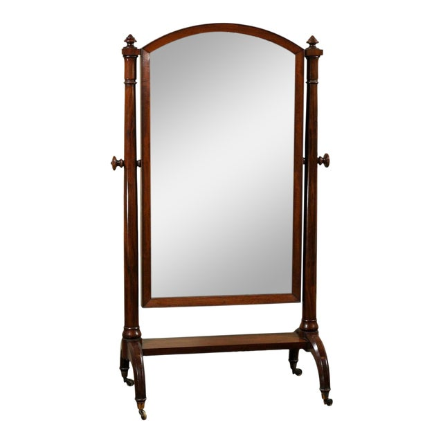 Scottish 1820s Mahogany Free Standing Tilting Cheval Mirror with Crescent Legs For Sale