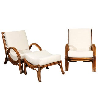 Stylish Restored Pair of Rattan Loungers With Matching Ottoman, Circa 1960 For Sale