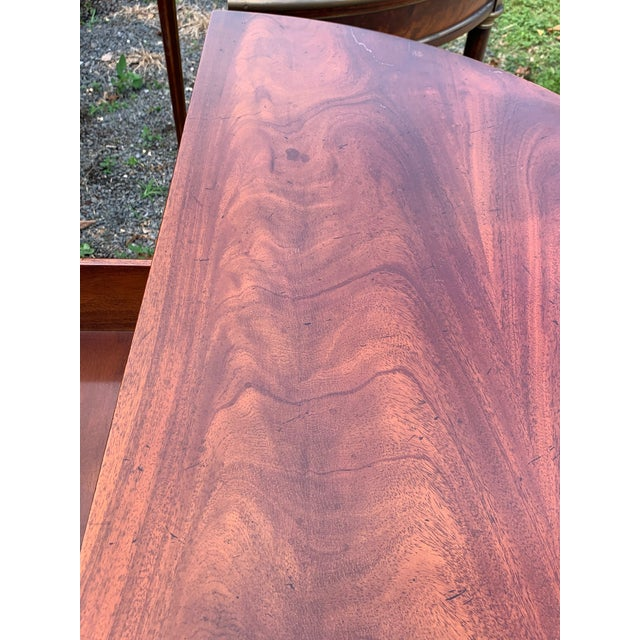 Crotch Mahogany Demilune Game Tables -A Pair For Sale - Image 4 of 13