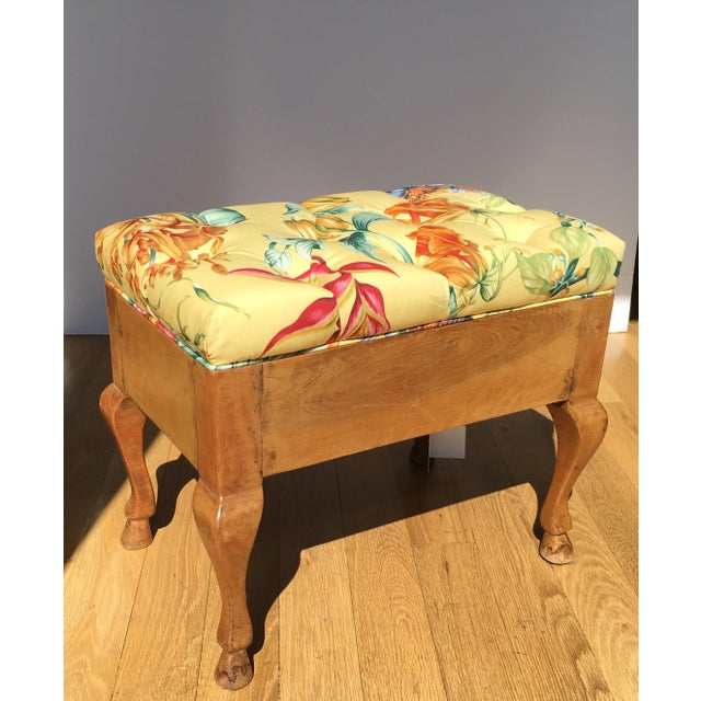 Antique Biedermeier Footstool With Yellow Floral Seat For Sale - Image 5 of 6
