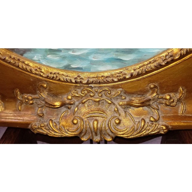 Gold Oil on Canvas of Venetian Scene in Ornate Giltwood Frame For Sale - Image 8 of 12