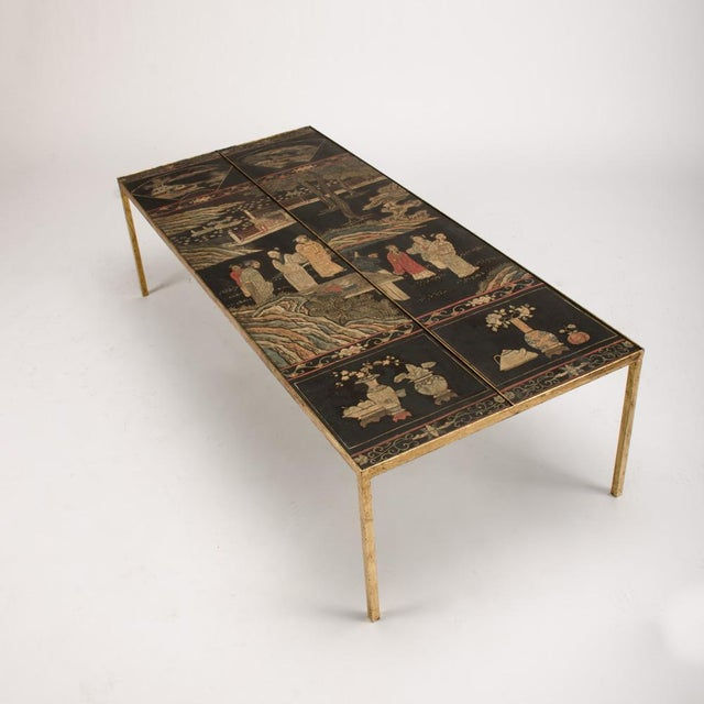 Vintage Chinoiseries Top Coffee Table With Leather Trim For Sale - Image 4 of 11
