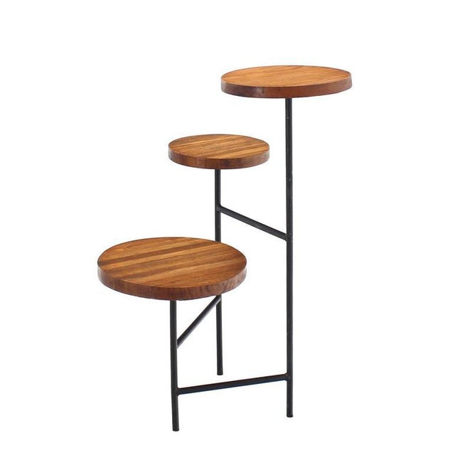 Brown Tri Leg Three-Tier Side Display Table Planter For Sale - Image 8 of 8