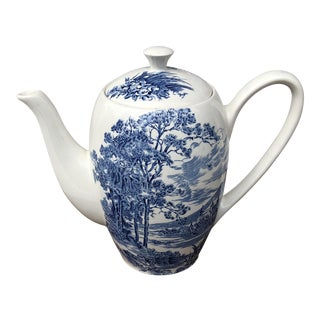 "Enoch Wedgewood Blue & White ""Countryside Blue"" Teapot For Sale"