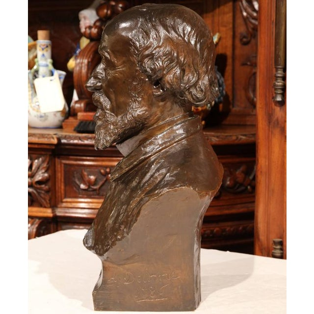 French 19th Century French Bronze Bust Signed by Jean-Francois Delorme For Sale - Image 3 of 9