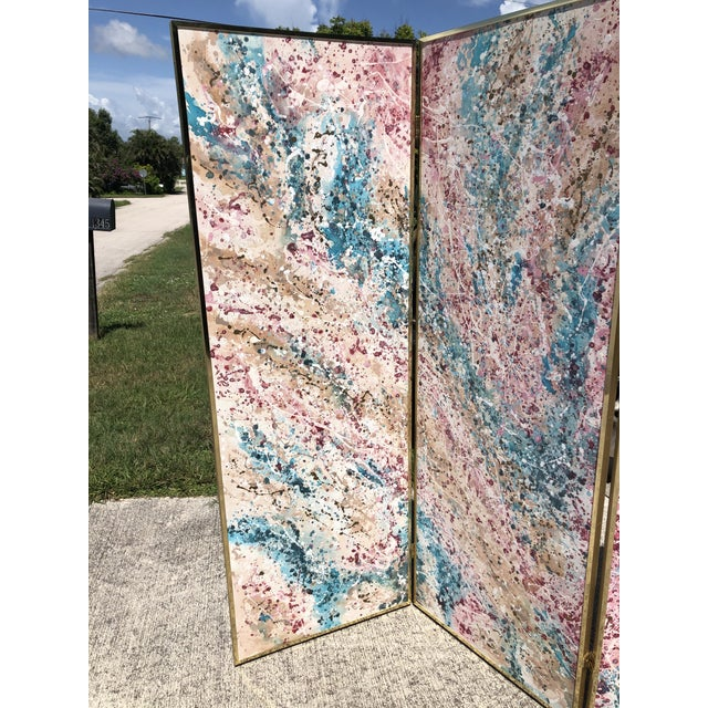 1980s 1980s Post Modern Abstract Expressionist Paint Splatter 3 Panel Canvas Painting Room Divider Screen For Sale - Image 5 of 9