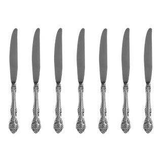 1940s King Edward by Gorham Sterling Silver French Regular Knives Flatware - Set of 7 For Sale