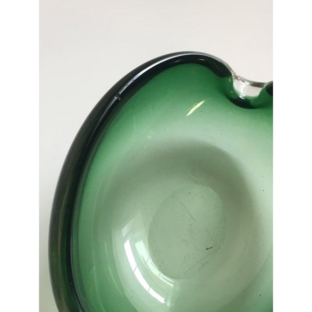 Glass Alfredo Barbini Murano Glass Green Ashtray For Sale - Image 7 of 7