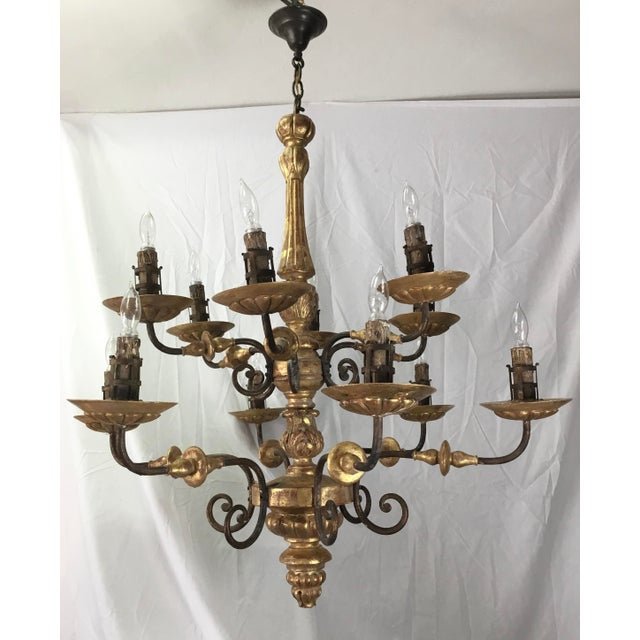 Italian 19th Century Carved Wooden Fragments Chandelier With 12 Arms For Sale - Image 4 of 13