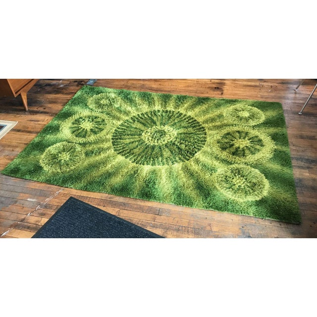 Vintage Green Swedish Shag Rug - 4′5″ × 6′7″