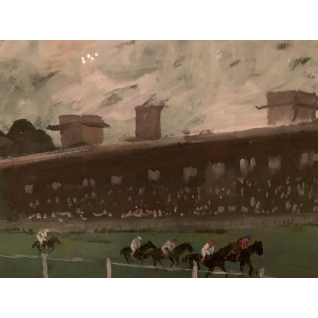 Glass 1970s Vintage Horse Race on the Green Track Framed Original Painting For Sale - Image 7 of 13