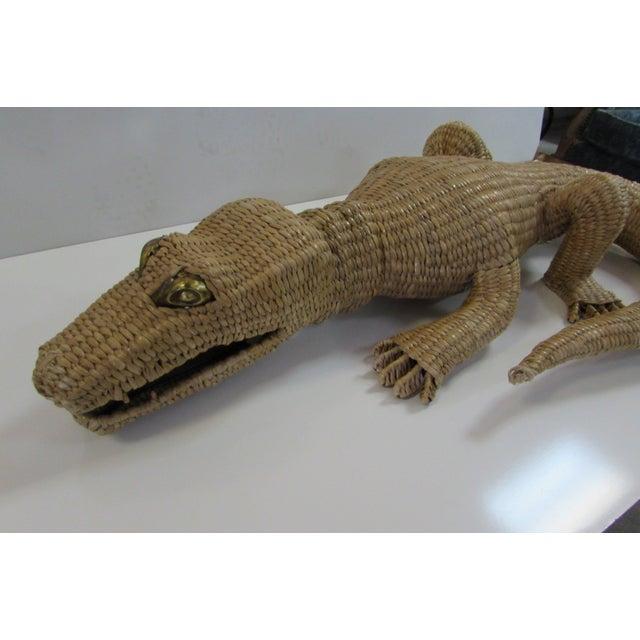 Wicker Crocodile Figure by Mario Torres - Image 4 of 5