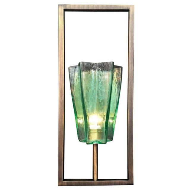 Limited edition of eight Italian wall lights with emerald green textured Murano glasses star-shaped tall shade mounted on...