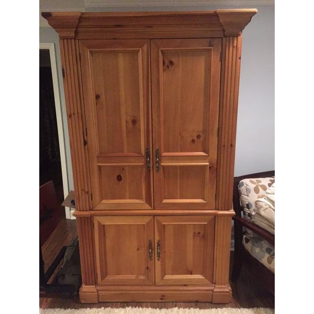 Solid Oak Armoire Desk - Image 2 of 4