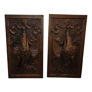 Early 20th Century French Carved Fruit of the Hunt Panels - a Pair For Sale
