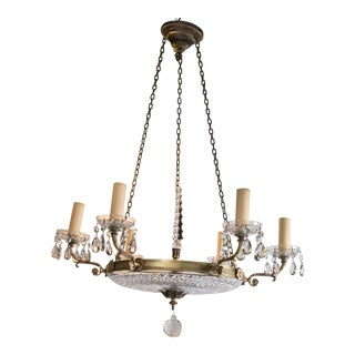 1930 French Gilt Bronze Chandelier With Cut Crystal Inset For Sale