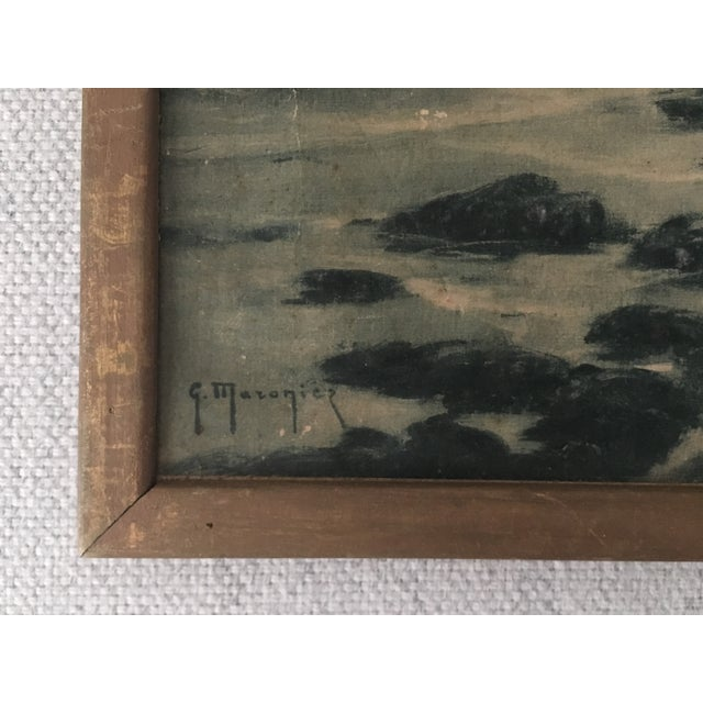 Early American Vintage French Wooden Framed Print For Sale - Image 3 of 4