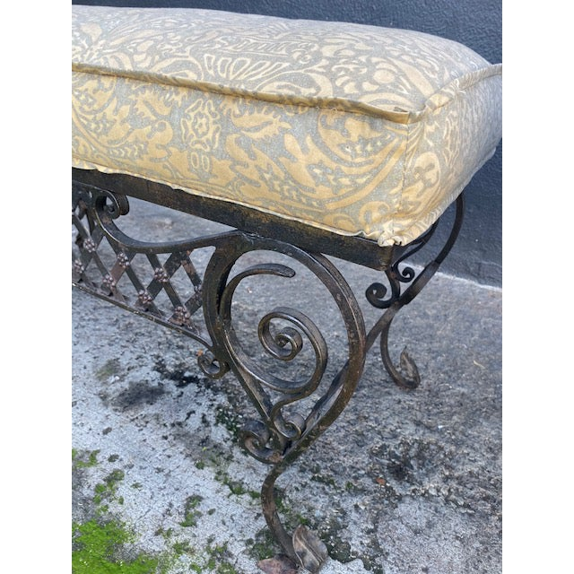 Metal Pair Of 1900's French Iron Benches With Trelice Rosette Motif For Sale - Image 7 of 13