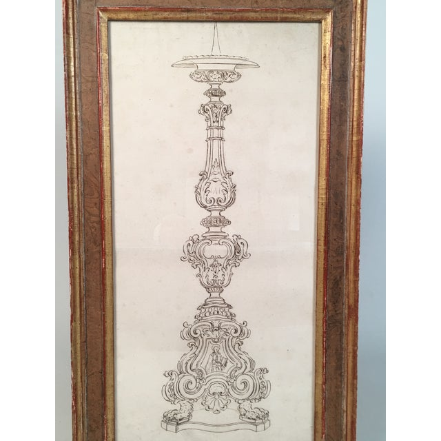 18th Century Italian Pen and Ink Baroque Candlestick Drawing - Image 2 of 6