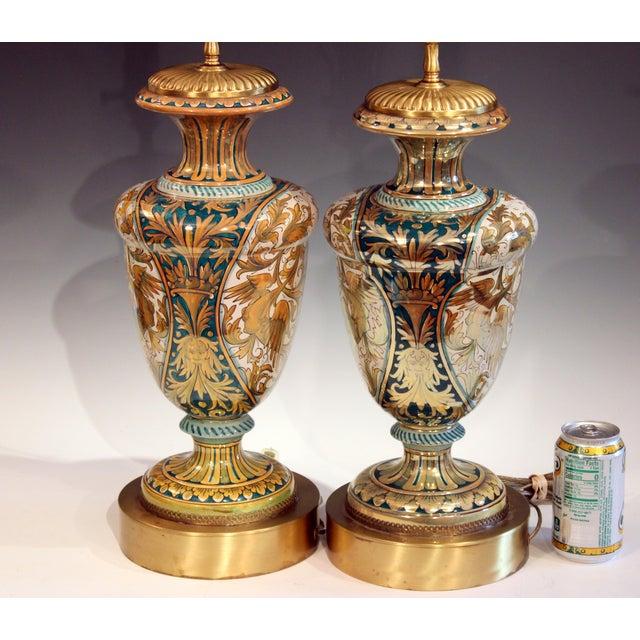 Italian Antique Gualdo Tadino Luster Pottery Italian Majolica Gargoyle Robbia Lamps - a Pair For Sale - Image 3 of 12