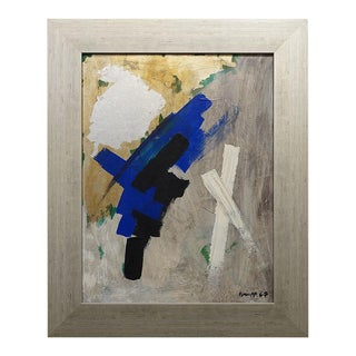 1967 Abstract Expressionist Oil Painting Signed Knapp, Framed For Sale
