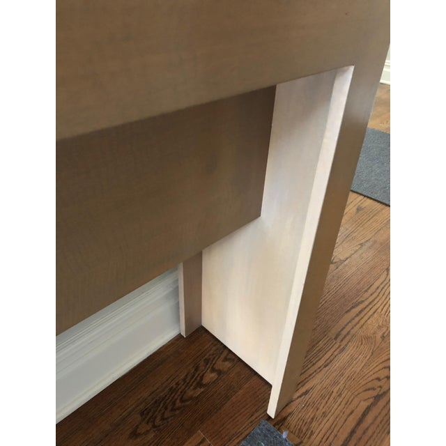 Wood Contemporary Long & Narrow Sleek Birch and Marble Console Table For Sale - Image 7 of 13