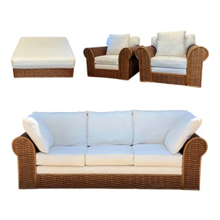 Michael Taylor Style Rattan Wicker Living Room Set – 5 Pieces For Sale