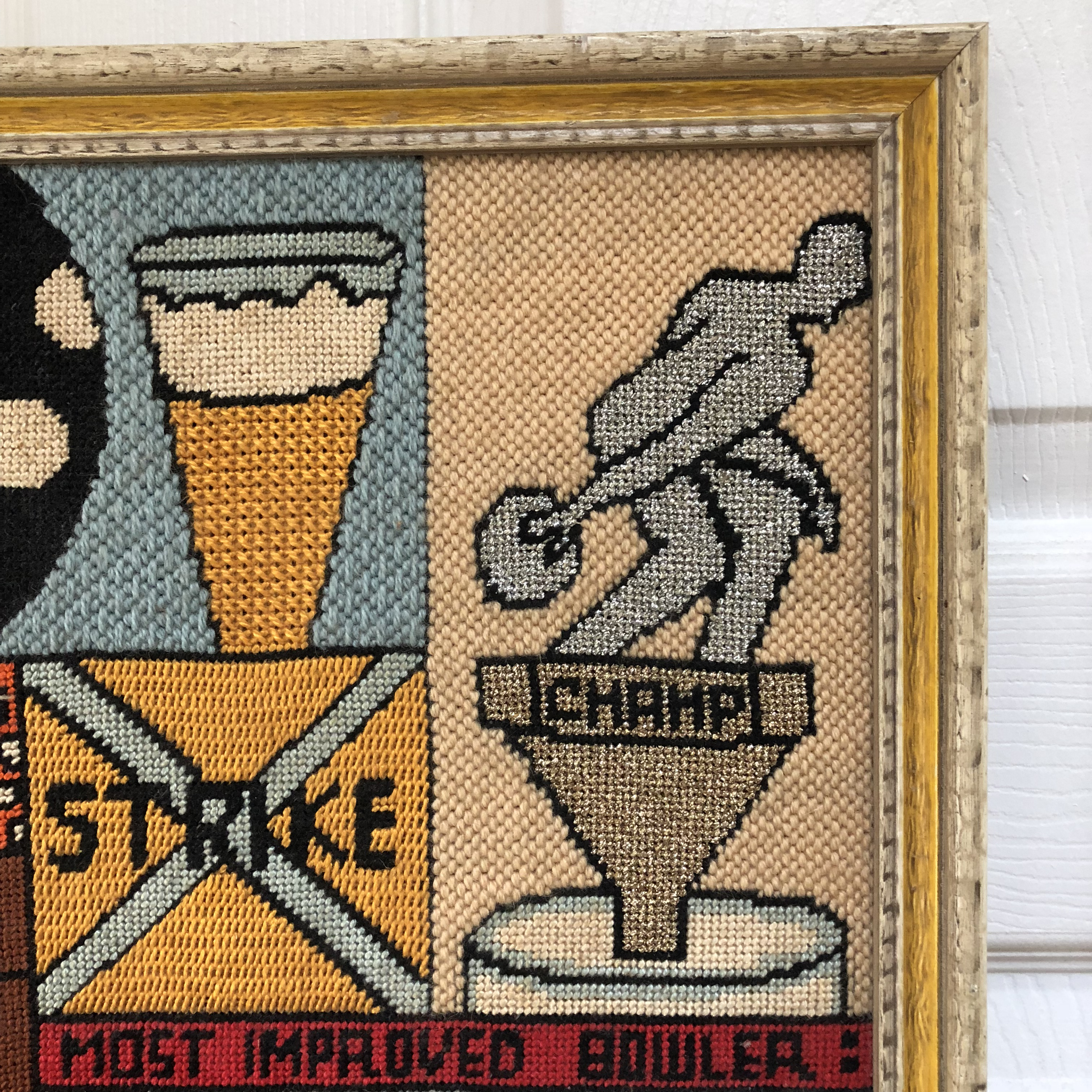 Vintage Most Improved Bowler Embroidery Artwork Chairish
