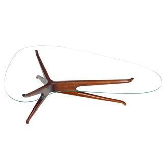 Vladimir Kagan Carved Walnut Trisymmetric Glass Top Coffee Table For Sale