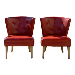 Mid Century Slipper Chairs in Lipstick Red For Sale
