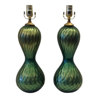 Mid-Century Murano Diamond Quilted Boudoir Lamps - a Pair For Sale