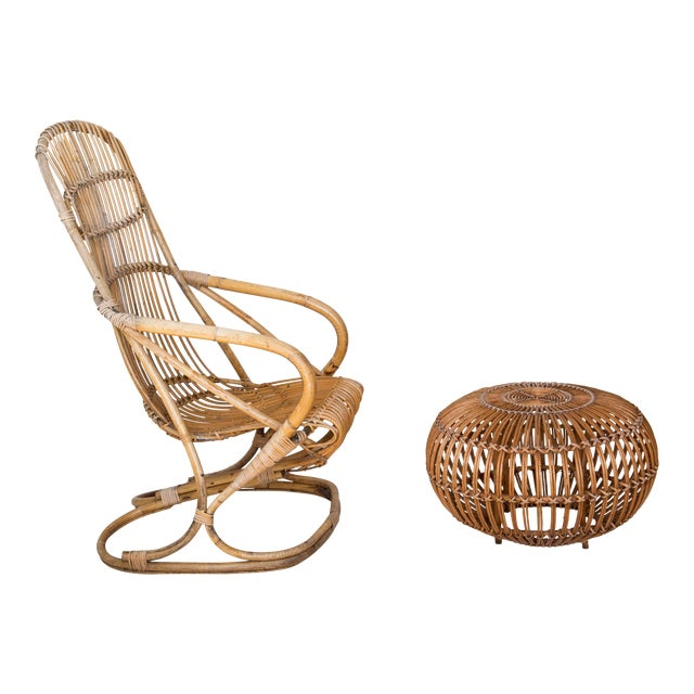 Franco Albini Rattan Lounge Chair & Ottoman For Sale