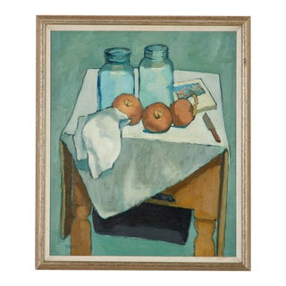 Jill Davenport Bottles and Onions Still Life Painting For Sale